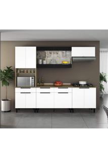 Cozinha Completa 5 Peças Com Paneleiro E Balcão Com Tampo Para Cooktop Itamaxi Itatiaia Branco/Amadeirado/Inox