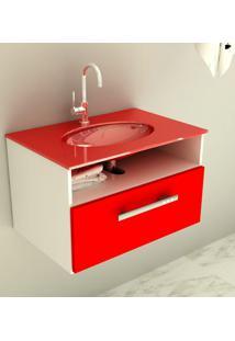Gabinete 16 Com Pia De Vidro Linea 60 Cm Vermelho