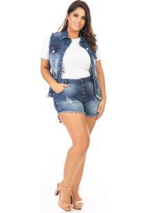 Shorts Feminino Jeans Cintura Alta Com Botões Plus Size - Kanui