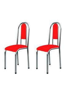 Kit 2 Cadeiras Anatômicas 0.122 Estofada Cromado/Vermelho - Marcheli