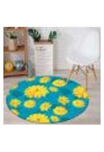 Tapete Redondo Wevans Beautiful Flower Yellow 84Cm