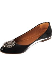 Sapatilha Butique De Sapatos Verniz Preta Pedraria Gota