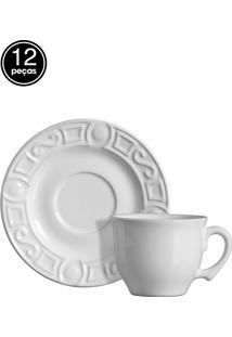 Conjunto 6 Xícaras De Chá Branco Rhodes Verde Scalla