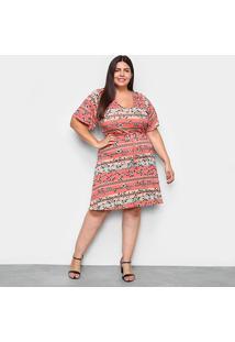 Vestido Lecimar Curto Plus Size Básico - Feminino-Rosa