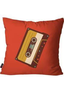 Capa De Almofada Pump Up Decorativa Avulsa Vermelho Retrô Fita De Música 45X45Cm