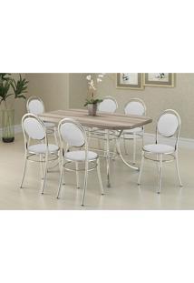 Mesa 1507 Nogueira Cromada Com 6 Cadeiras 190 Branca Carraro
