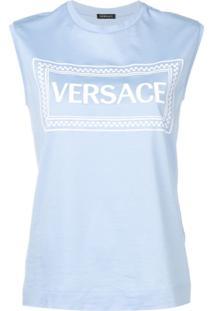 Versace Regata Com Logo Bordado - Azul