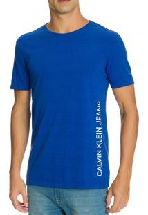 Camiseta Ckj Mc Est Logo Lateral - Azul Médio - P