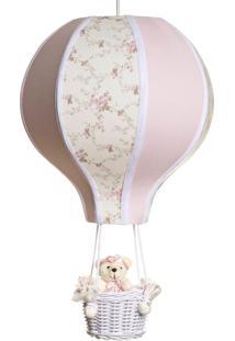 Lustre Balão Grande Com Ursinha Bebê Infantil Menina Potinho De Mel Rosa