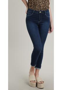 Calça Jeans Feminina Sawary Cropped Push Up Com Barra Dobrada Azul Escuro