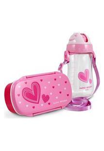 Conjunto Pote Para Lanche E Squeeze Infantil Menina Coraçáo Jacki Design Pink