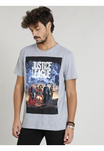 Camiseta Masculina Liga Da Justiça Manga Curta Gola Careca Cinza Mescla