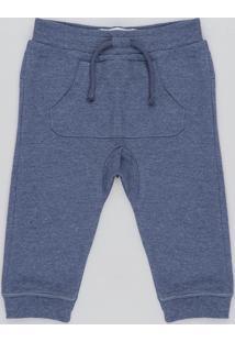 Calça Infantil Em Moletom Com Bolso Canguru Azul Marinho