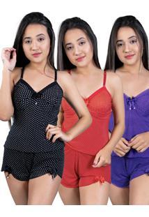 Kit 3 Baby Doll Nj Mix Curto Adulto Regata De Liganete Multicolorido - Branco/Lilã¡S/Multicolorido/Preto/Rosa/Roxo/Vermelho - Feminino - Dafiti