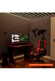 Conjunto De Mesa Com Cadeira Gamer Fremont E Suíça Preta E Vermelha