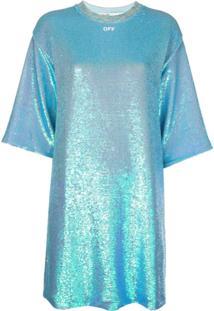 Off-White Vestido Reto Com Aplicação De Paetês - Azul