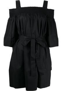 Twin-Set Vestido Com Amarração Na Cintura - Preto