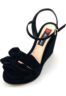 Sandália Anabela Love Shoes Alta Laçinhos Nobuck Preto
