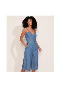 Macacão Jeans Feminino Pantacourt Com Bolsos Alça Fina Azul Médio