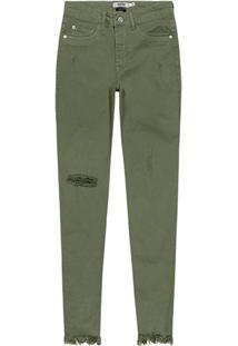 Calça Verde Skinny Em Sarja Desfiada