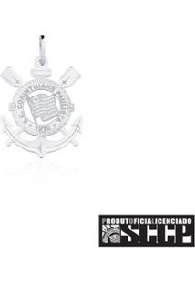 Pingente De Prata 925 Com Escudo Do Corinthians Extra Grande - Unissex