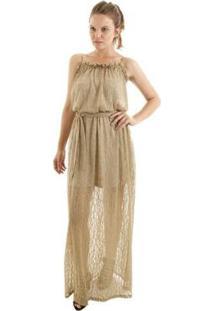 Vestido Longo Com Alcinha Fluído E Babadinhos No Busto Aha Feminino - Feminino-Dourado