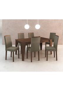 Conjunto De Mesa Com 6 Cadeiras Tibete Suede Nogal E Cinza