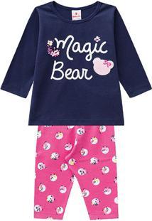 "Conjunto De Blusa ""Magic Bear"" + Legging Floral- Azul Mabrandili"