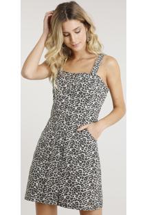 44a718bf3 R$ 89,99. CEA Vestido De Sarja Feminino Curto Estampado Animal Print Com  Botões Bege