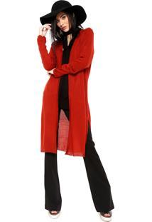 Maxi Cardigan Sommer Tricot Comfort Vermelho