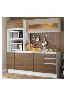 Cozinha Compacta 100% Mdf Madesa Smart 190 Cm Com Armário, Balcão E Tampo Branco/Rustic/Crema Branco/Rustic/Crema