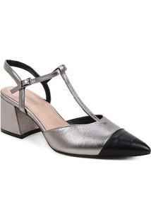 Scarpin Couro Shoestock Salomé Bicolor Salto Médio - Feminino-Prata