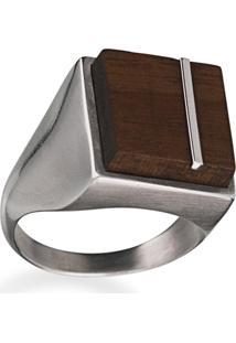 Anel Wooden Design Sinete Com Traço Em Prata 925 - Madeira E Prata