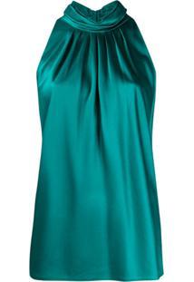 Dvf Diane Von Furstenberg Blusa Frente Única Com Pregas - Verde