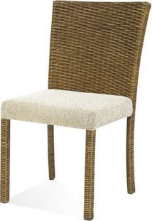 Cadeira Canton Assento Cor Branco Com Base Aluminio Revestido Em Junco - 44730 - Sun House