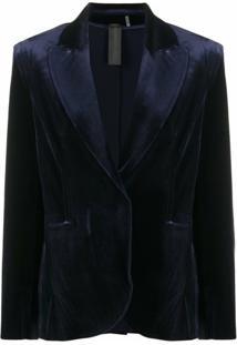 Norma Kamali Blazer De Veludo Com Abotoamento Simples - Azul