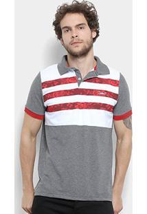 Camisa Polo Jimmy'Z Listrado Floral Masculina - Masculino-Mescla Escuro