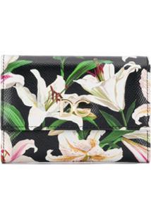 Dolce & Gabbana Carteira Floral Com Aba Dobrável - Preto