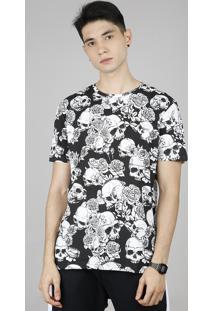 Camiseta Masculina Estampada De Caveira Manga Curta Gola Careca Preta