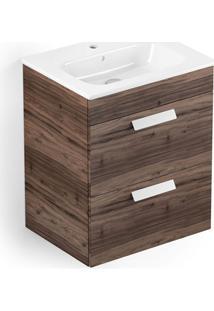 Gabinete Para Banheiro Em Mdf Com Lavatório Debba 45X80Cm Branco E Castaine