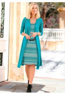 Vestido Visual Duplo Azul Esverdeado