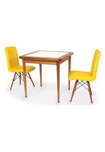 Conjunto Mesa De Jantar Em Madeira Imbuia Com Azulejo + 2 Cadeiras Gomos - Amarelo