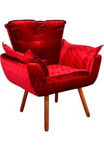 Poltrona Decorativa Opala Acetinado Vermelho Trabalhado - D'Rossi