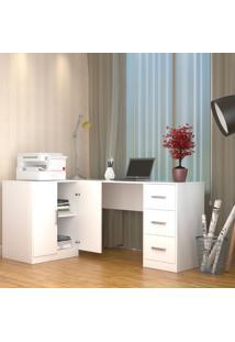 Escrivaninha Em L Com Balcão Bliv - Branco - Multistock