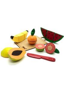 Brinquedo Kit 5 Frutinhas Com Corte Faca Tabua Em Madeira 3+