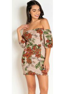Vestido Curto Floral Bege Decote Ombro A Ombro