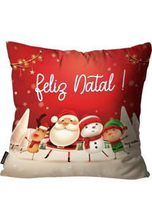 Capa Para Almofada Mdecore Natal Feliz Natal Vermelha 45X45Cm