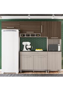Cozinha Compacta Luna 4 Peças Com Tampo - Poliman - Rovere / Amêndoa
