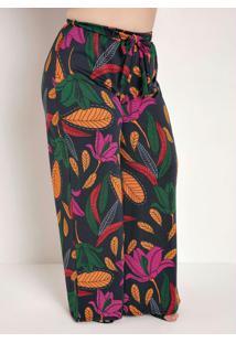 Calça Floral Pantalona Com Faixa Plus Size