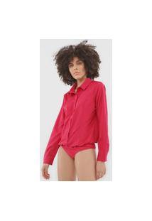 Body Queens Paris Camisa Recortes Rosa